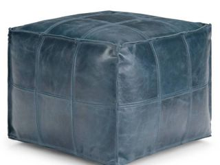 WYNDENHAll Rubin Contemporary Square Pouf in Teal leather Retail 239 99