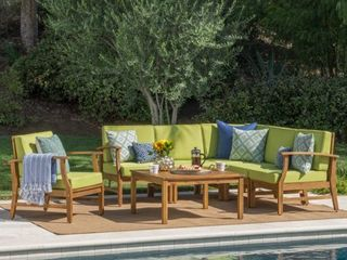 Perla Outdoor Acacia Wood armless chair with Cushion by Christopher Knight Home