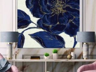Designart  Dark Rose Gilded Gold  Floral Canvas Artwork Print   Blue Retail 146 99  might have some frame damage