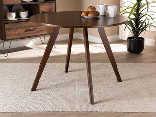 Alana Round Wood Dining Table Walnut   Baxton Studio