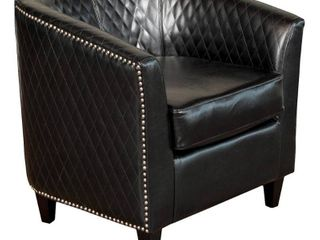 Christopher Knight Home Mia Black Bonded leather Quilted Club Chair Retail 229 99