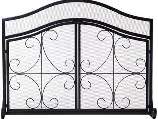 HomCom Safety Fireplace Screen Protector  Decorative Scroll  2 Door  Steel  Black Retail 79 98