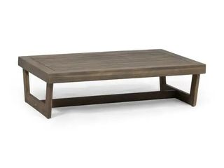 Sherwood Outdoor Acacia Wood Coffee Table by Christopher Knight Home   Gray Finish