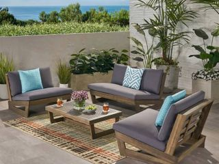 Sherwood Outdoor Acacia Wood loveseat Christopher Knight  missing hardware