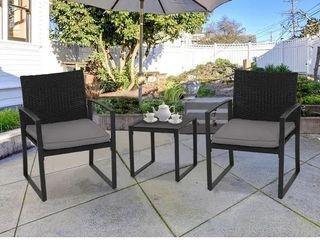 Suncrown Outdoor 3 Piece Wicker Bistro Set W  Metal Armrest Retail 189 99
