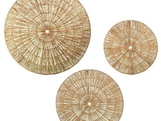 The Curated Nomad Terraza Woven Seagrass Wall Decor  Set of 3  Retail 134 99