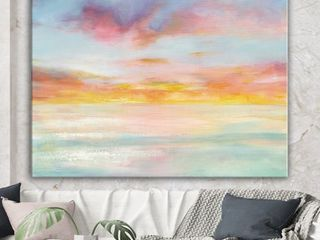 Designart  Pastel Pink and Blue Clouds   Traditional Premium Canvas Wall Art Retail 136 49