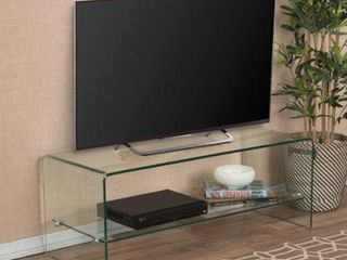 Ramona Glass Entertainment TV Console Stand with Shelf by Christopher Knight Home Retail 177 49