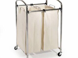 Seville Classics Mobile 2 Bag Heavy Duty laundry Hamper Sorter Cart