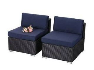 Phi Villa Outdoor Rattan sofa without armrest and table