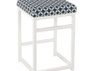 HomePop Open Back Metal 24  Counter Stool   Indigo and White lattice   24 inches   24 inches Retail 88 99