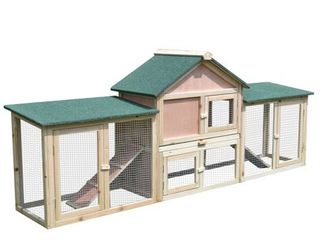 Pawhut Wood 2 story Outdoor Deluxe 83 inch Xl Rabbit Hutch Retail 174 99