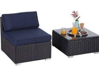 Phi villa sofa w o armrest and table  blue cushion