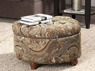 Button Tufted Round Storage Ottoman Brown and Teal Paisley Retail 127 99