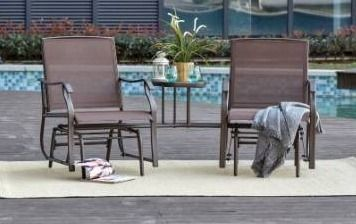 Sylvestere outdoor sling fabric 3 piece chairs table set by havenside home