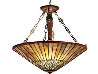 Tiffany Style Mission Design 3 light Dark Antique Bronze Pendant Retail 239 99