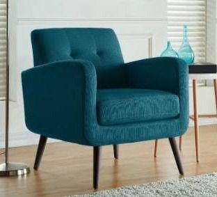 Keflavik Mid century Peacock Blue linen Arm Chair Retail 236 49