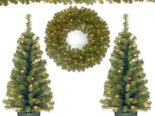 National Tree Company Pre lit Holiday Christmas Shape Able 4 Piece Set   Garland  Wreath and Set of 2 Entrance Trees