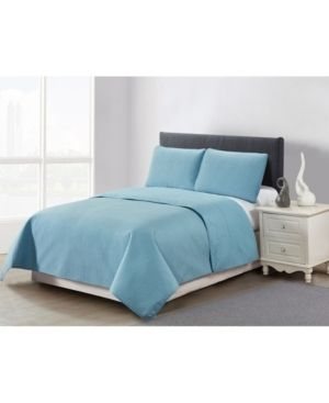 Casual living Solid Color Box Stitch 3 Piece Quilt Set  Queen