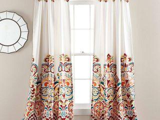 Clara Room Darkening Window Curtain Turquoise Tangerine Set 52x84 2