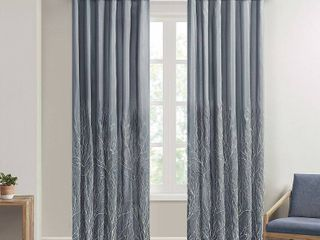 108 x50  Aden Curtain Panel Pair Of Blue And Brown