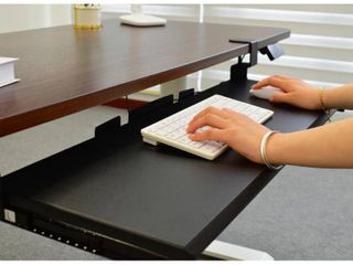 Seville Classics Airlift 360 Clamp Sliding Keyboard Tray Extra Wide Shelf Computer Desk Accessory  31 5  Black