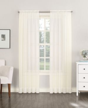 lot of 4   59 x54  Emily Sheer Voile Rod Pocket Curtain Panels   Off White   No  918