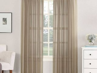 lot of 2   108 x59  Emily Sheer Voile Rod Pocket Curtain Panel   Taupe   No  918