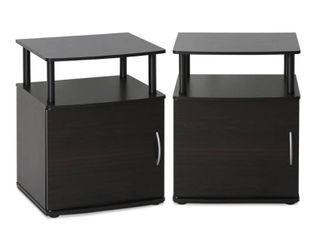 FURINNO End Table  Two  Black Wood