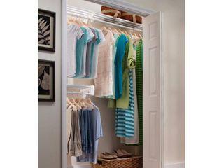 EZ Shelf   DIY Closet Organizer Kit   Expandable to 12 2 ft  of Hanging   Shelf Space   White