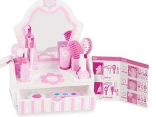 Melissa   Doug Wooden Beauty Salon Play Set With Vanity and Accessories  18pc