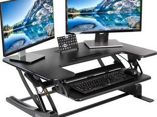 VIVO Black Height Adjustable 36 inch Stand up Desk Converter Quick Sit to Stand Tabletop Dual Monitor Riser  DESK V000V