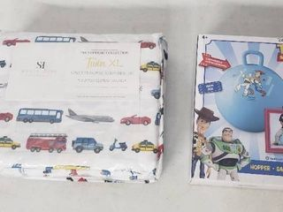 Toy Story Inflatable Hopper And 3 Piece Transportation Twin Sheet Set