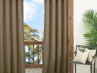 lot Of 4  95 x52  Key largo Solid Indoor Outdoor Curtain Panel Dark Taupe   Waverly Sun N Shade