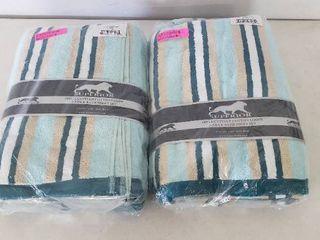 lot Of 2 Miranda Haus Stripe Cotton Bath Towels   2 Per Set