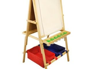 US Art Supply Cardiff Children s Art Activity Easel with Easel Paper Roll  2 large Storage Bins and Now 6 No Spill Child s Paint Cups and lids