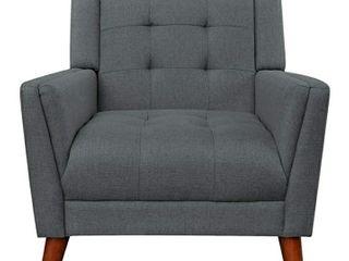 Christopher Knight Home Evelyn Mid Century Modern Fabric Arm Chair  Dark Gray  Walnut