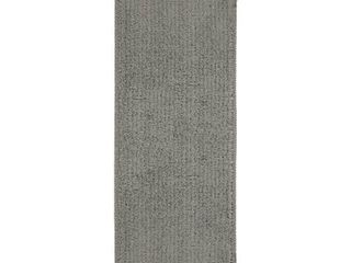 Ottomanson Solid Dark Grey Set of 14 Skid Resistant Rubber Backing Non Slip  9 x26  Mats 14 Piece Set 9 Inch by 26 Inch Softy Shag Carpet Stair Treads  9  X 26  Gray  Count