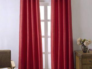 lot Of 2  Shelton Faux Silk 54 x 84 in  Room Darkening Grommet Single Curtain Panel in Red
