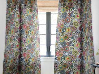 2   Sharon Turner Mandala Festival Stripe Panel Sheer Curtain   50  x 84
