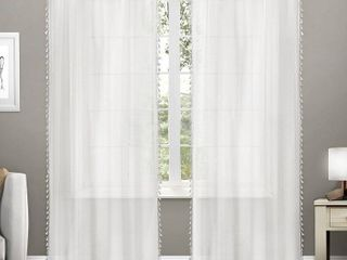 Set of 2   108 x54  Tassels  Sheer Rod Pocket Window Curtain Panels   White   Exclusive Home