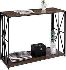 Console Sofa Table 2 Tier Folding Wall Table for Entryway  No Assembly Home Office Computer Desk living Room TV Entrance Table with Shelf  Industrial Rustic Brown Kitchen Bar Table with Metal X Frame