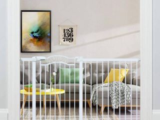 Fairy Baby White Extra Wide Baby Gate Pressure Mounted Pet Gate Walk Thru Child Safety Gate with Extensions  White  62 60 65 35