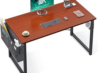 ODK Computer Writing Desk 39 inch  Sturdy Home Office Table  Work Desk with A Storage Bag and Headphone Hook  Teak