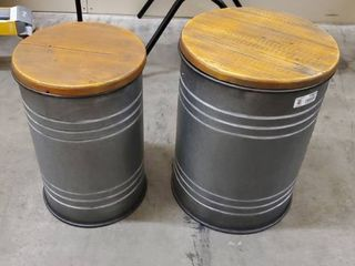 Glitzhome Farmhouse Metal With Solid Wood Seat Storage Stool Set of 2