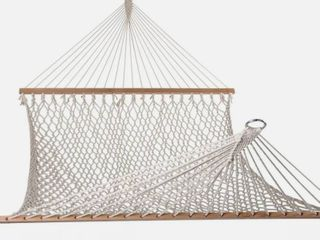 lazy Daze Hammocks Cotton Rope Double Hammock w  Wood Spreader  Chains   Hooks  for 2 People  450 lb Capacity   Color   Natural