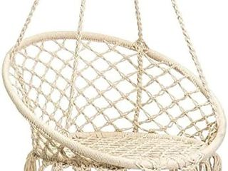 Karriw Hammock Chair   Macrame Swing  Cotton Hanging Swing   Indoor Outdoor  Beige  with Hanging Kit
