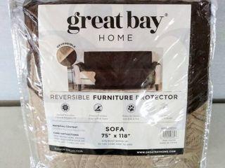 Great Bay Home Reversible Furniture Protector   Sofa 75  x 118    Quilted Microfiber   Brown   Tan