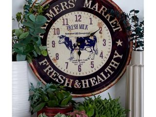 Decmode Set of 2 Farmhouse Iron Round Wall Clocks  Multi