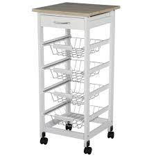 HOMCOM 32 25  Wooden Rolling Kitchen Storage Cart on 360A Swivel Wheels with Ample Storage Space   Solid Structure  Retail 75 48